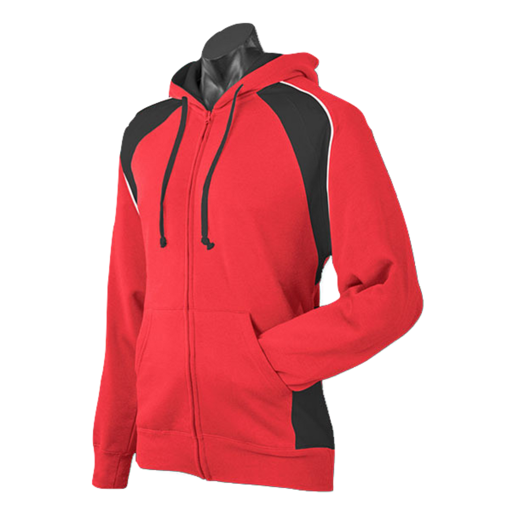 Mens Panorama Zip Hoodie - Colours Red / Black / White