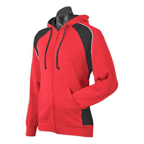 Image of Mens Panorama Zip Hoodie, Colours: Red / Black / White