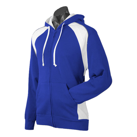 Image of Mens Panorama Zip Hoodie, Colours: Royal / White / Ashe