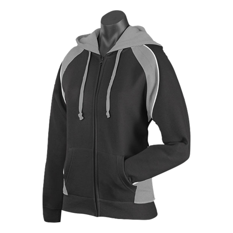 Image of Womens Panorama Zip Hoodie - Colours Black / Ashe / White