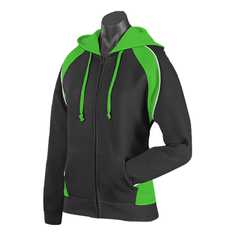 Image of Womens Panorama Zip Hoodie - Colours Black / Green / White