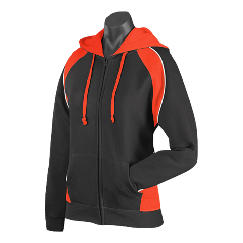 Image of Womens Panorama Zip Hoodie - Colours Black / Orange / White