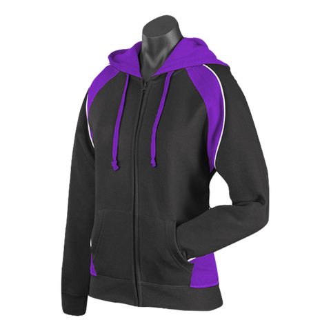 Womens Panorama Zip Hoodie - Colours Black / Purple / White