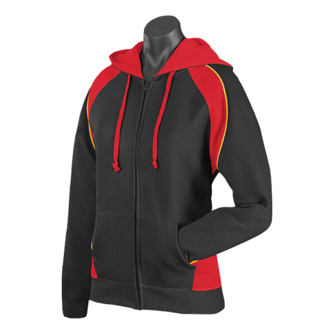 Womens Panorama Zip Hoodie - Colours Black / Red / Gold
