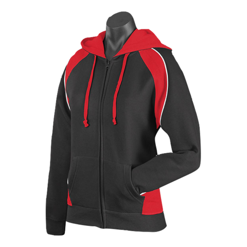Womens Panorama Zip Hoodie - Colours Black / Red / White