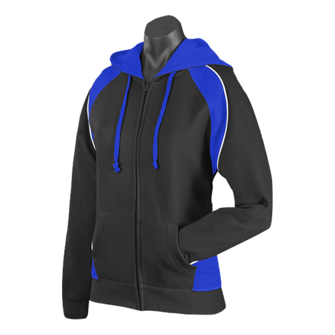 Womens Panorama Zip Hoodie - Colours Black / Royal / White