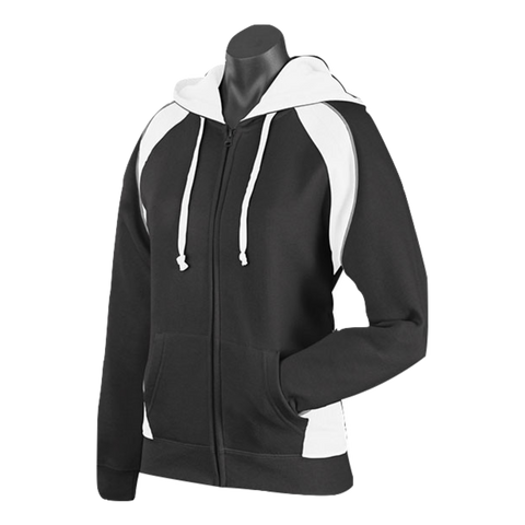 Image of Womens Panorama Zip Hoodie - Colours Black / White / Ashe