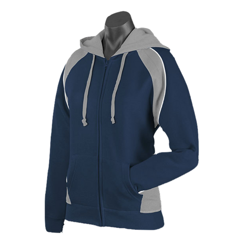 Image of Womens Panorama Zip Hoodie - Colours Navy / Ashe / White