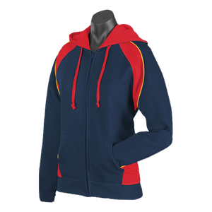 Womens Panorama Zip Hoodie - Colours Navy / Red / Gold