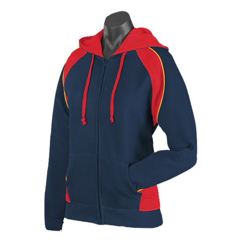 Image of Womens Panorama Zip Hoodie - Colours Navy / Red / Gold
