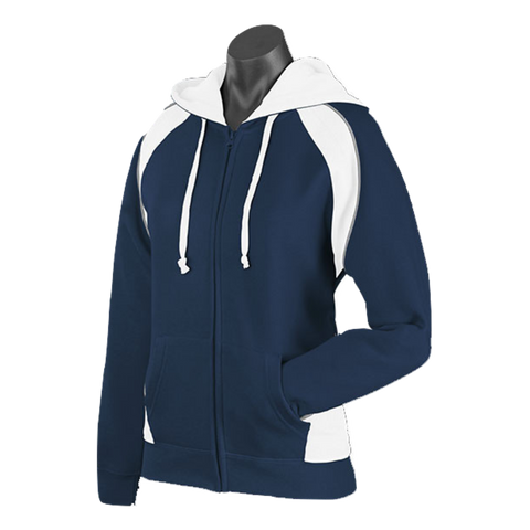 Image of Womens Panorama Zip Hoodie - Colours Navy / White / Ashe