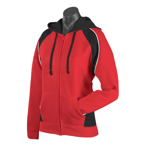 Womens Panorama Zip Hoodie - Colours Red / Black / White