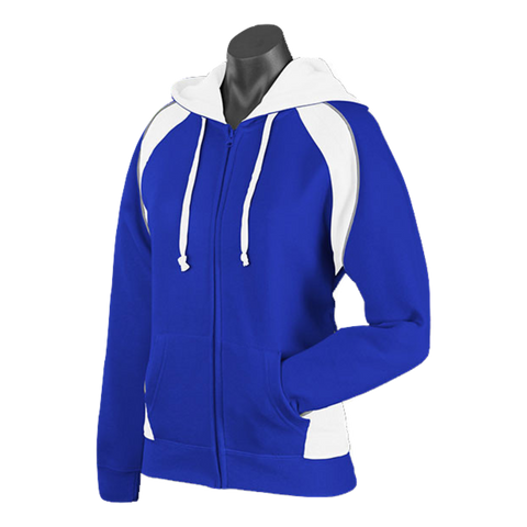 Image of Womens Panorama Zip Hoodie - Colours Royal / White / Ashe