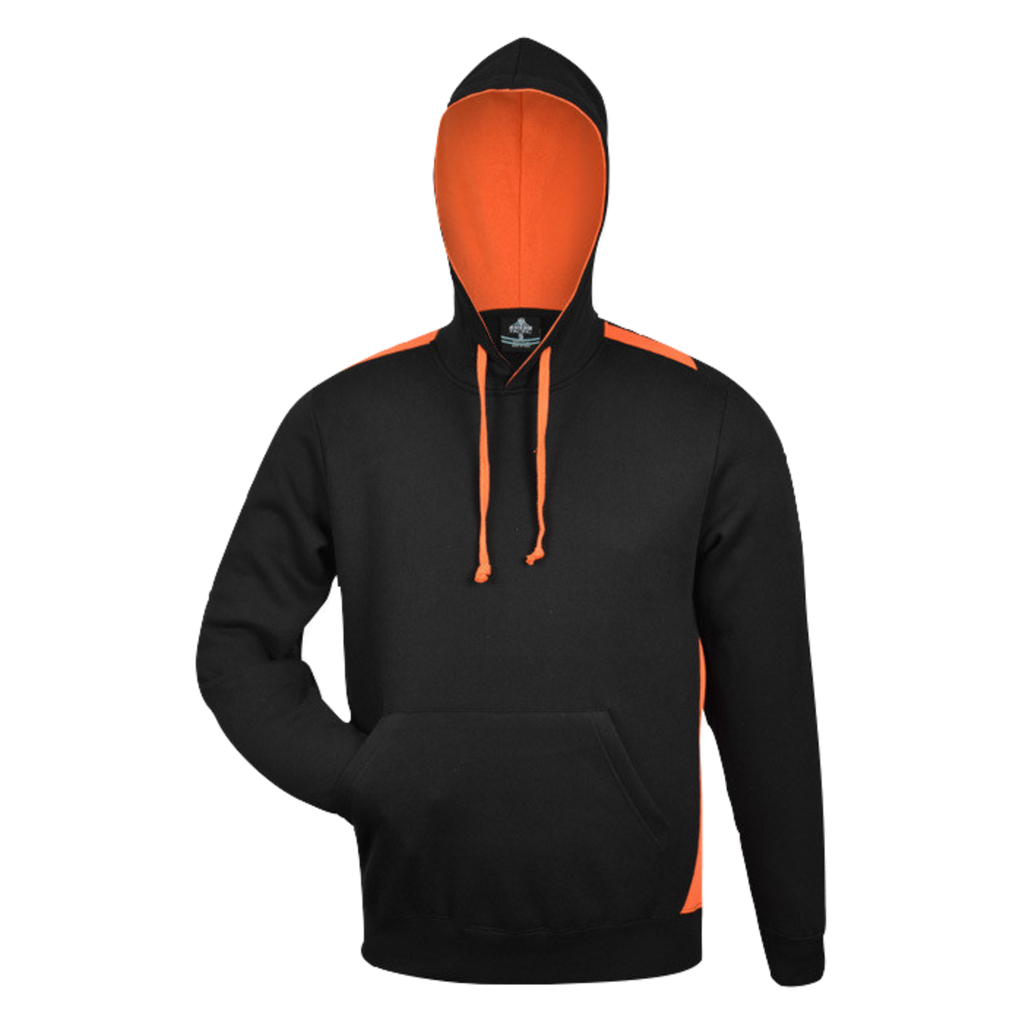 Mens Paterson Hoodie, Colours: Black / Orange