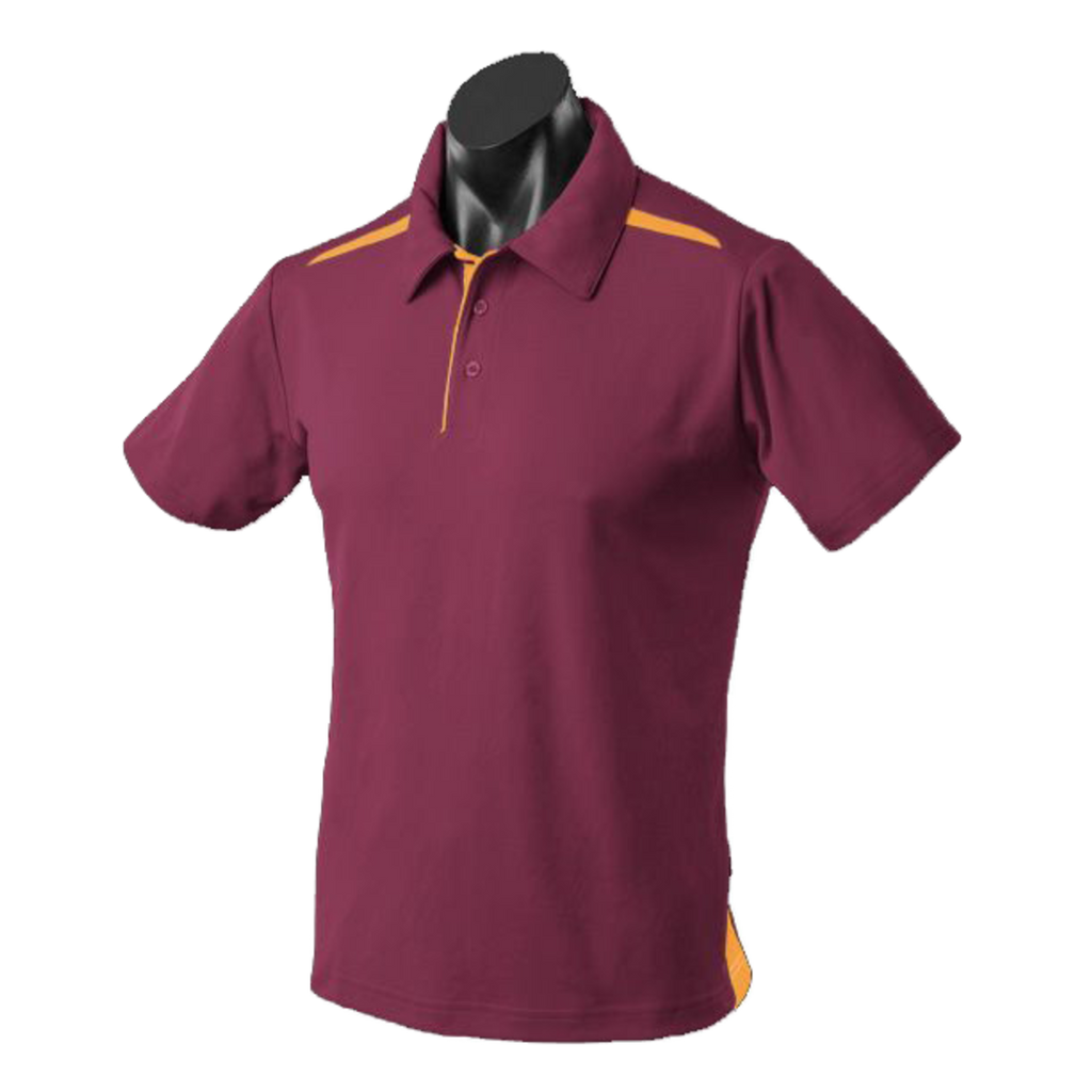 Kids Paterson Polo, Colours: Maroon / Gold