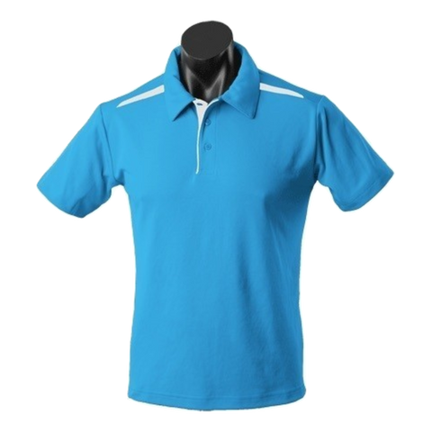 Image of Kids Paterson Polo, Colours: Pacific Blue / White