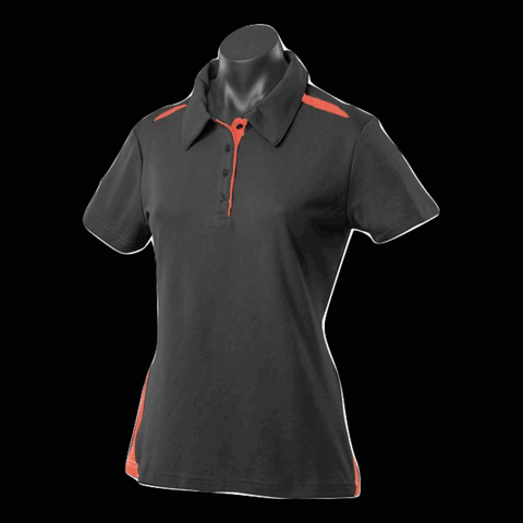 Womens Paterson Polo - Colours Black / Orange