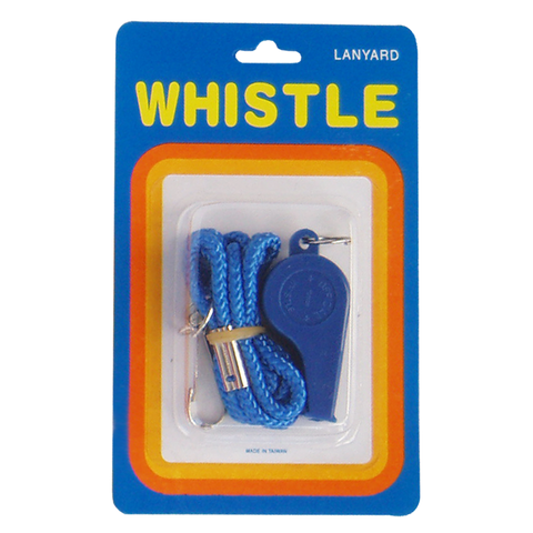 Plastic Whistle - Size Small (Single with Lanyard, Blister Pack)