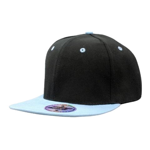 Premium American Twill with Snap Back Pro Styling - Colours Black / Sky