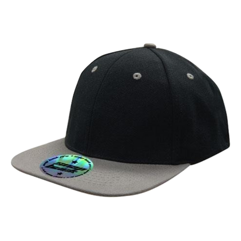 Premium American Twill with Snap Back Pro Styling - Two Tone, Colours: Black / Charcoal