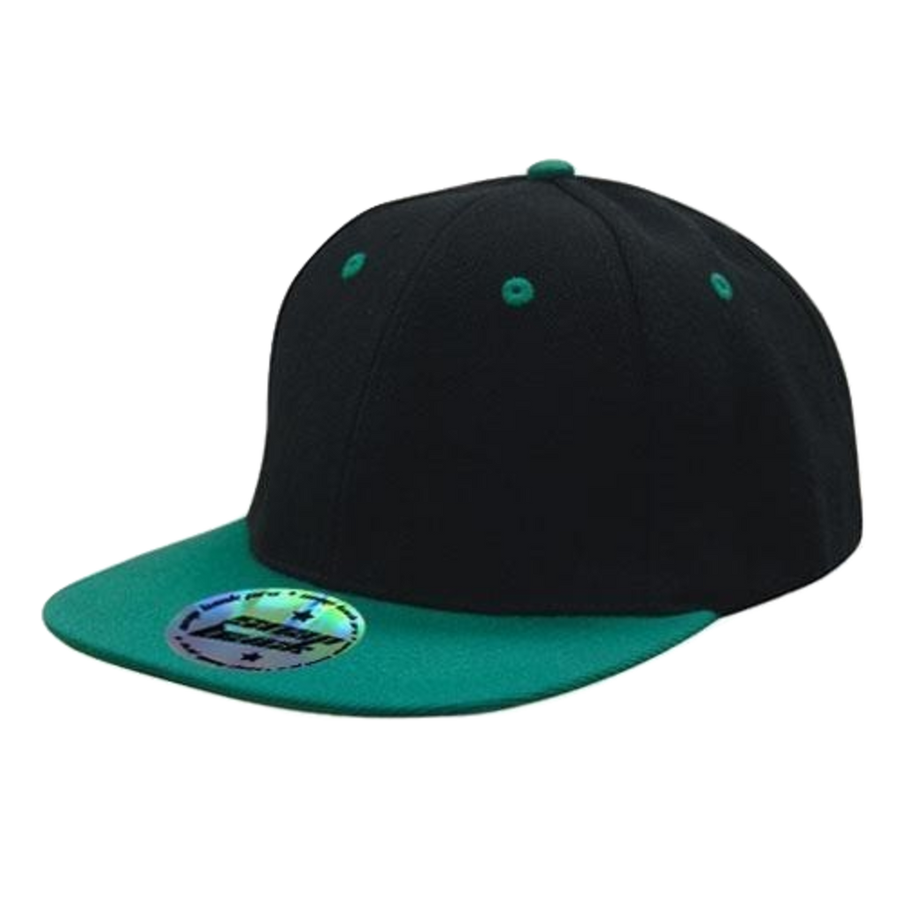 Premium American Twill with Snap Back Pro Styling - Two Tone, Colours: Black / Emerald