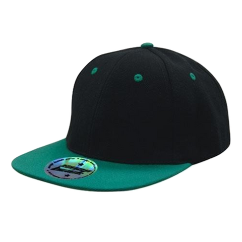 Image of Premium American Twill with Snap Back Pro Styling - Two Tone, Colours: Black / Emerald