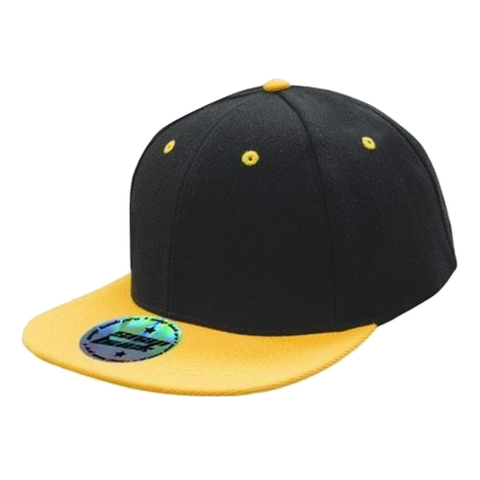 Premium American Twill with Snap Back Pro Styling - Two Tone - Colours Black / Gold