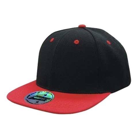 Premium American Twill with Snap Back Pro Styling - Two Tone - Colours Black / Red
