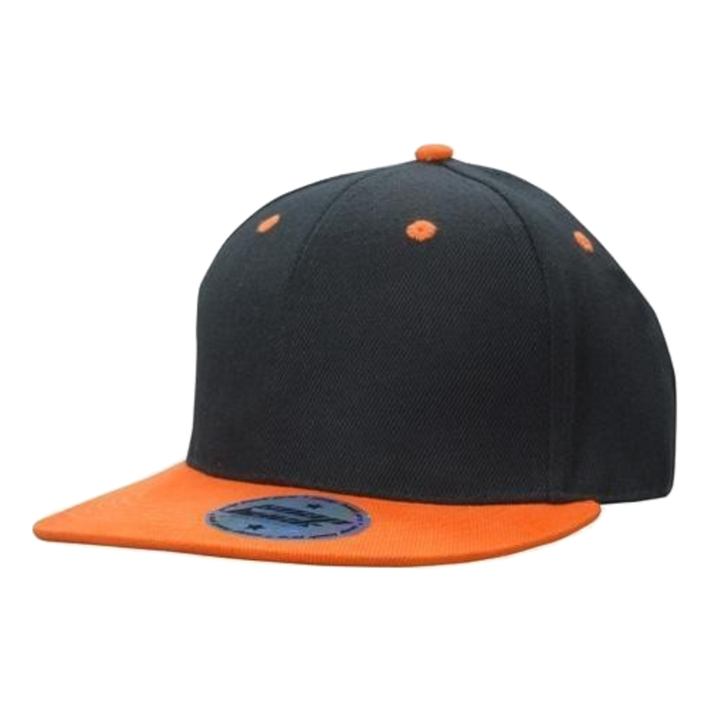 Premium American Twill Youth Size with Snap Back Pro Junior Styling - Colours Black / Orange