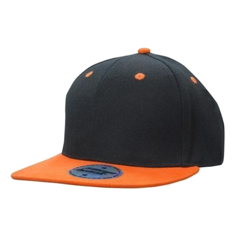 Premium American Twill Youth Size with Snap Back Pro Junior Styling, Colours: Black / Orange