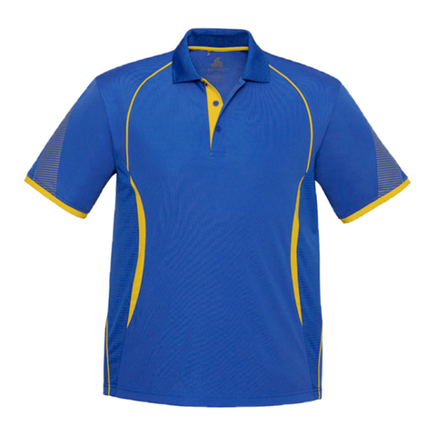 Image of Mens Razor Polo, Colours: Royal / Gold