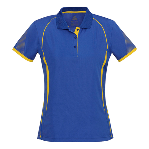 Image of Womens Razor Polo, Colours: Royal / Gold