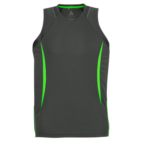 Image of Mens Razor Singlet, Colours: Grey / F Lime