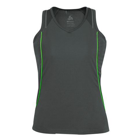 Image of Womens Razor Singlet, Colours: Grey / Fl Lime