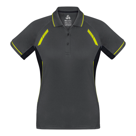 Image of Womens Renegade Polo, Colours: Grey / Black / Fl Yellow