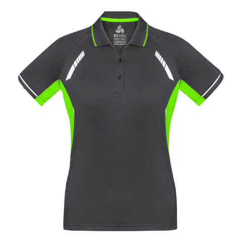 Image of Womens Renegade Polo, Colours: Grey / Fl Lime / Silver