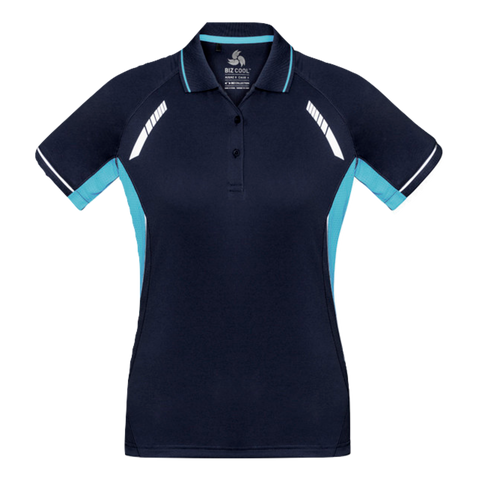 Image of Womens Renegade Polo, Colours: Navy / Sky / Silver