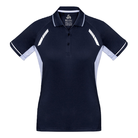 Image of Womens Renegade Polo, Colours: Navy / White / Silver