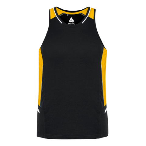 Mens Renegade Singlet, Colours: Black / Gold / Silver