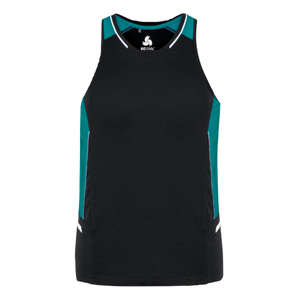 Mens Renegade Singlet - Colours Black / Teal / Silver
