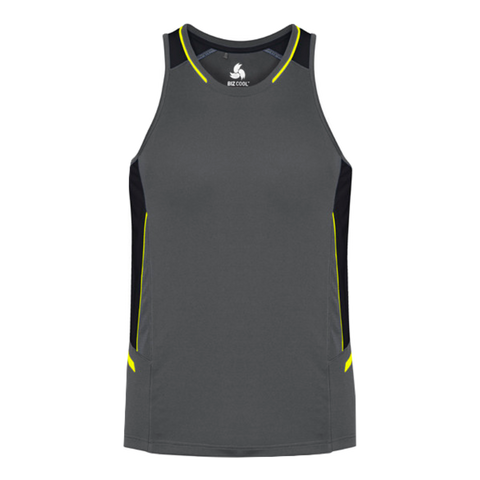 Image of Mens Renegade Singlet - Colours Grey / Black / Fl Yellow