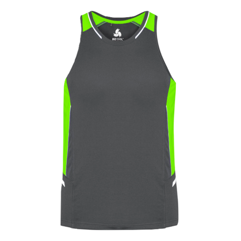 Image of Mens Renegade Singlet - Colours Grey / Fl Lime / Silver