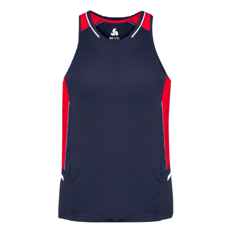 Mens Renegade Singlet, Colours: Navy / Red / Silver