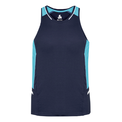 Image of Mens Renegade Singlet, Colours: Navy / Sky / Silver