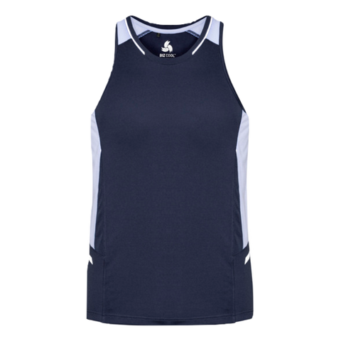 Mens Renegade Singlet, Colours: Navy / White / Silver