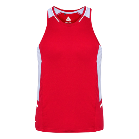 Mens Renegade Singlet, Colours: Red / White / Silver
