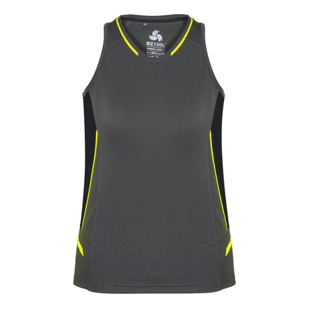 Womens Renegade Singlet - Colours Grey / Black / Fl Yellow