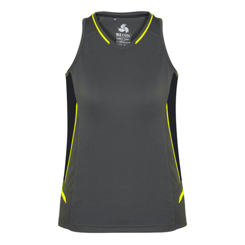 Image of Womens Renegade Singlet, Colours: Grey / Black / Fl Yellow