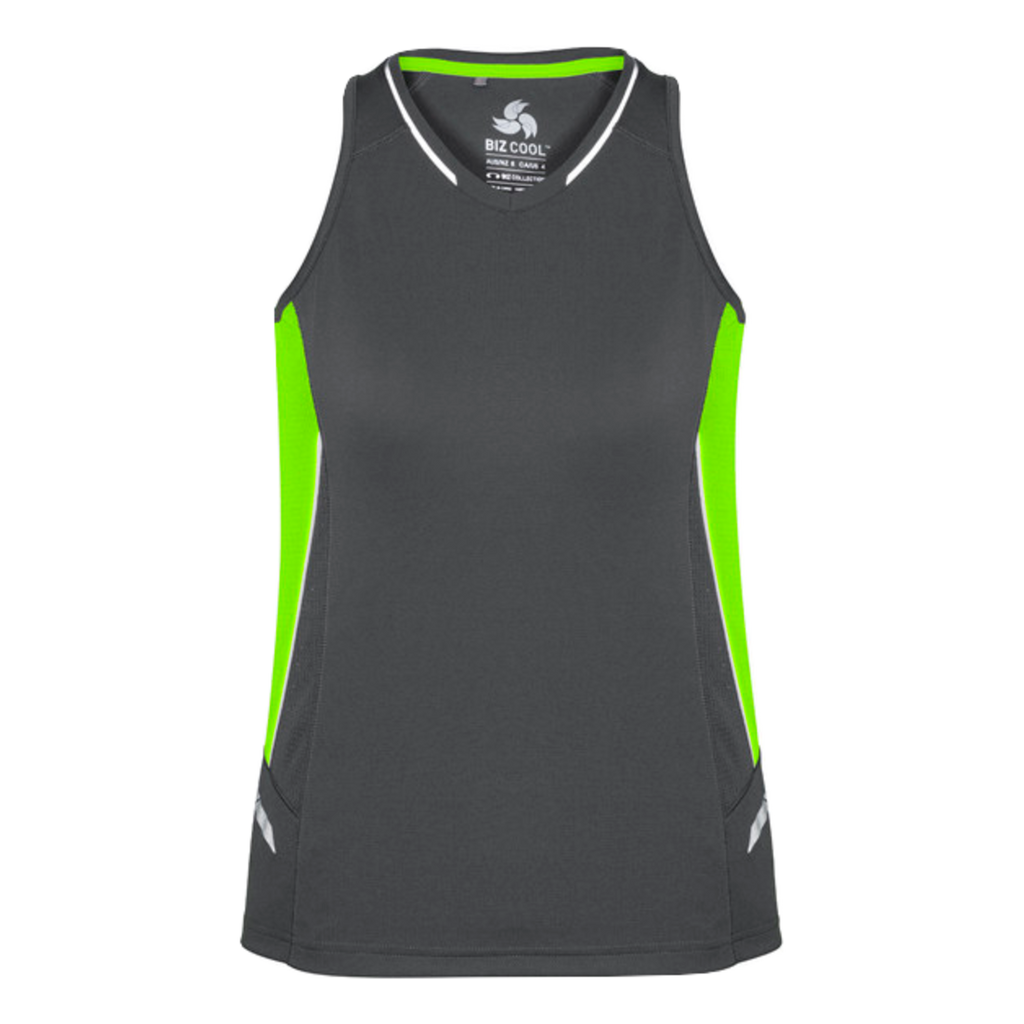 Womens Renegade Singlet - Colours Grey / Fl Lime / Silver