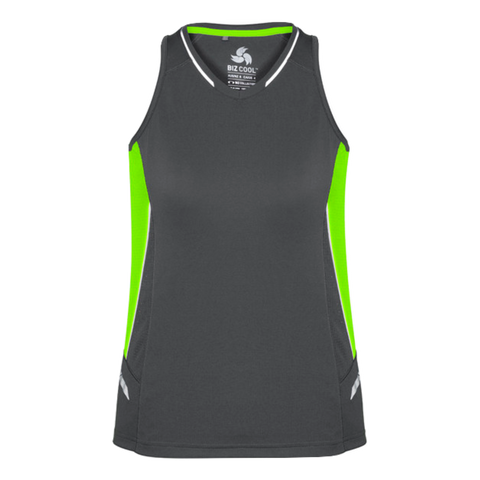 Womens Renegade Singlet, Colours: Grey / Fl Lime / Silver